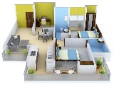 Photo 2BHK+2T (1,325 sq ft) + Study Room Apartment in...