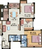Photo 2BHK+2T (1,072 sq ft) Study Room Apartment in...